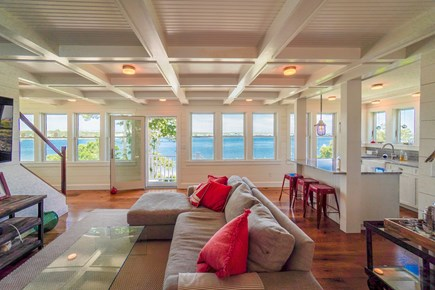 Oak Bluffs Martha's Vineyard vacation rental - Living room with kitchen and view