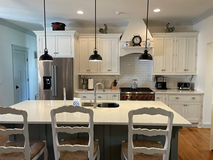 Edgartown, Nora's Meadow Martha's Vineyard vacation rental - The well-appointed kitchen is part of the open floor plan.