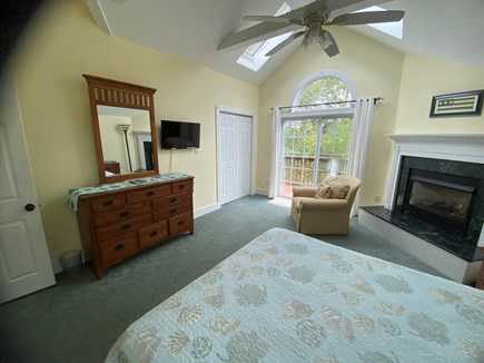 Katama - Edgartown Martha's Vineyard vacation rental - Large Bedroom with TV, Fireplace, Skylights and King Bed.