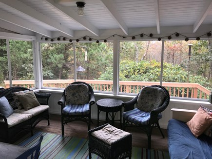Oak Bluffs, Harthaven Martha's Vineyard vacation rental - Screened porch overlooking the deck and yard.