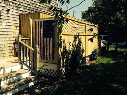 Katama - Edgartown Martha's Vineyard vacation rental - Wrap around deck has BBQ, furniture and hot shower w/change room