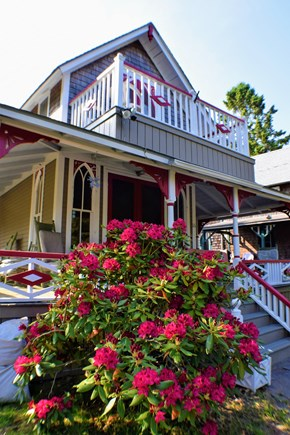 Oak Bluffs Martha's Vineyard vacation rental - Front porch, balcony, and blooming rhododendrons