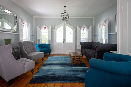 Oak Bluffs, Historic Copeland District Martha's Vineyard vacation rental - Entrance and living room with original hardwood floors.