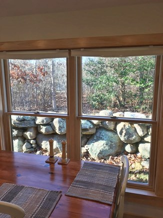 Chilmark Martha's Vineyard vacation rental - Look out at the forest and birds from the indoor dining table.