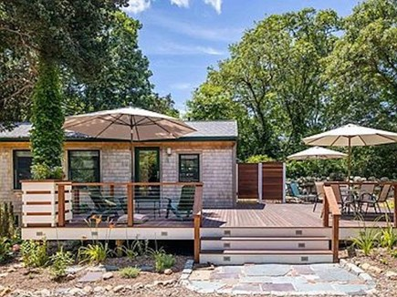 Chilmark Martha's Vineyard vacation rental - The deck leads to the yard and artist's studio outback.