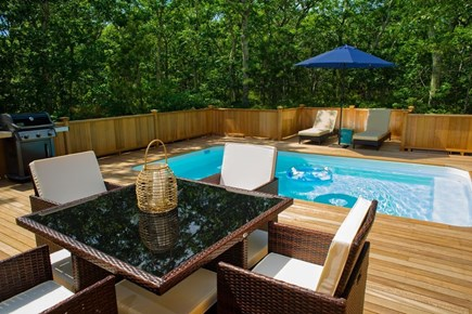 Edgartown Martha's Vineyard vacation rental - View of the pool deck to the woods behind the house.