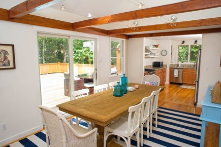 Edgartown Martha's Vineyard vacation rental - Dining room with a view out to the pool.