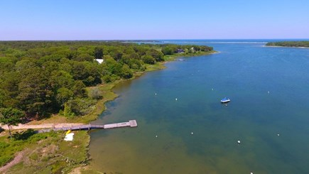 Oak Bluffs Martha's Vineyard vacation rental - Senge's dock w/ 3-mile long State Beach visible at top