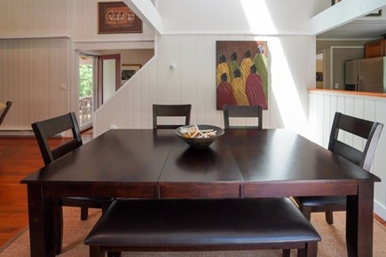 Oak Bluffs Martha's Vineyard vacation rental - Dining for 8, kitchen right, side entry to the 2 BR/1 BA hallway