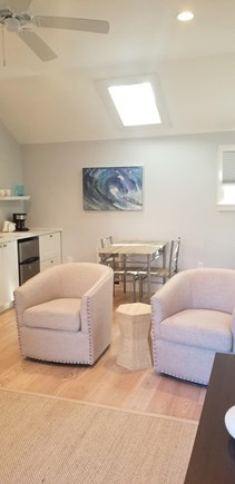 In-town Edgartown Martha's Vineyard vacation rental - Living room with vaulted ceilings and paddle fans