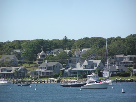 Oak Bluffs Martha's Vineyard vacation rental - View from Oak Bluffs Harbor showing cottage location on hill