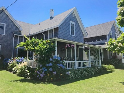 Oak Bluffs Martha's Vineyard vacation rental - Front porch and lawn showing house next door