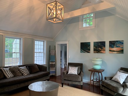 Vineyard Haven Martha's Vineyard vacation rental - The living room opens to the patio through glass french doors.