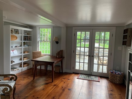 Vineyard Haven Martha's Vineyard vacation rental - A desk area with additional french doors that open to the patio.