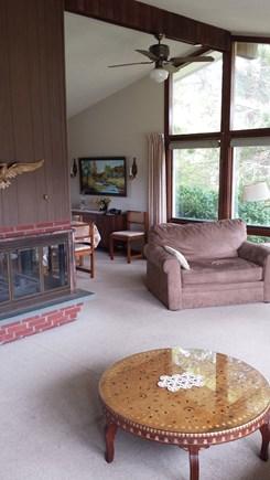 Katama-Edgartown, Katama Bay Martha's Vineyard vacation rental - Open living room into dining area, fireplace