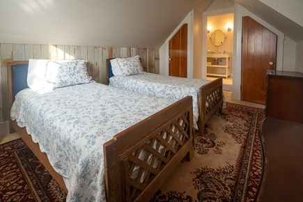 Heart of Oak Bluffs Martha's Vineyard vacation rental - Upstairs back bedroom with 2 twins and full bath.