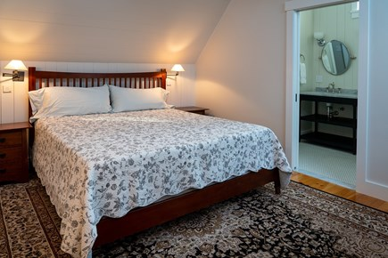 Heart of Oak Bluffs Martha's Vineyard vacation rental - Large master bedroom with king bed, full bath and office area.