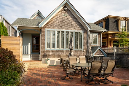 Heart of Oak Bluffs Martha's Vineyard vacation rental - The back patio boasts a BBQ, 2 tables and an outdoor shower.
