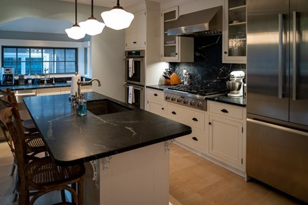 Heart of Oak Bluffs Martha's Vineyard vacation rental - The kitchen with large island is outfitted for a gourmet cook!