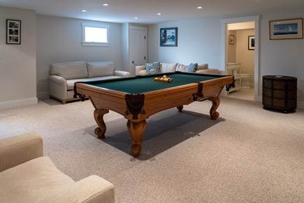 Heart of Oak Bluffs Martha's Vineyard vacation rental - The finished basement with pool table, sofabed and full bath.