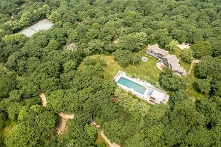 Chilmark - Quansoo Beach Martha's Vineyard vacation rental - Aerial Photo showing House, Pool and Tennis Court
