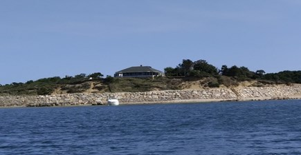 Chappaquiddick, Edgartown Martha's Vineyard vacation rental - View of the House, Seawall & Private Stairs to Beach