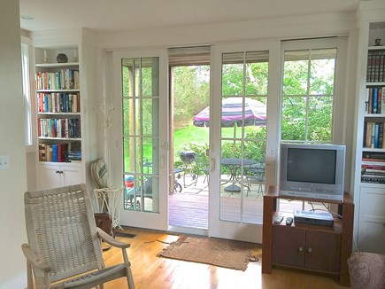Vineyard Haven Martha's Vineyard vacation rental - Living Area with Full Sliders View to Patio