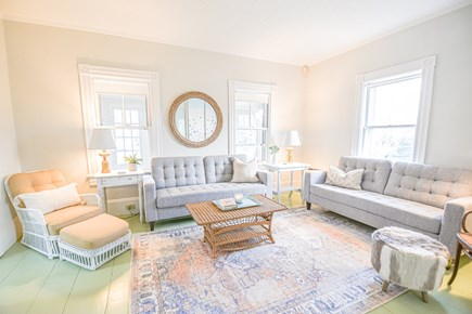 Oak Bluffs Martha's Vineyard vacation rental - Living room with electric fireplace right off of the front porch