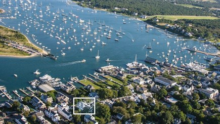 Edgartown Martha's Vineyard vacation rental - Aerial view looking SouthWest, house is in square