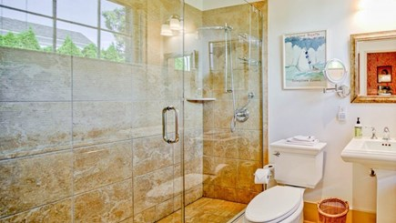 Edgartown Martha's Vineyard vacation rental - Bath 1 in the East Wing with glass walk in shower & spanish tile