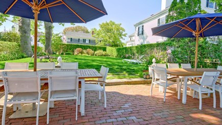 Edgartown Martha's Vineyard vacation rental - Backyard Patio with Grill and Dining- two identical tables for 8