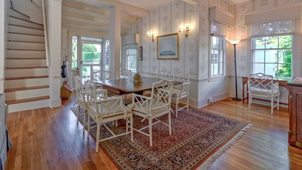 Edgartown Martha's Vineyard vacation rental - West dining room area with patio door