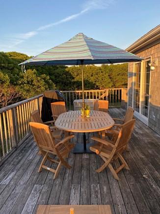 Aquinnah, Tashtego's Tree House Martha's Vineyard vacation rental - Teak table seats six comfortably. Brand new Weber Genesis Grill