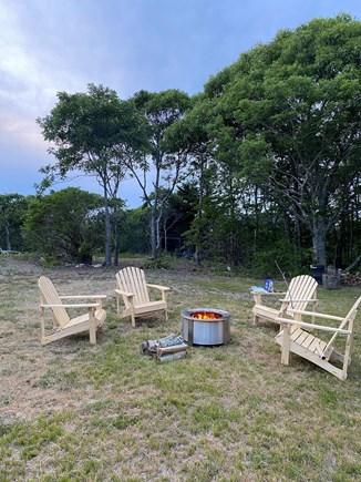 Aquinnah, Tashtego's Tree House Martha's Vineyard vacation rental - Breeo fire pit and Adirondack chairs. Get the smores ready!