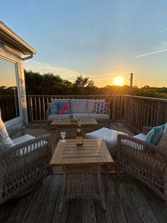 Aquinnah, Tashtego's Tree House Martha's Vineyard vacation rental - Large deck on 2nd floor. Comfortable seating ready forsun set!