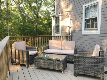 Vineyard Haven, Rustic Lake Tashmoo Area Cotta Martha's Vineyard vacation rental - Rear Deck with new furnishings and outdoor shower.
