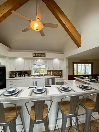Vineyard Haven Martha's Vineyard vacation rental - Large eat-in-kitchen w/ seating for 6 and small Wolf appliances.