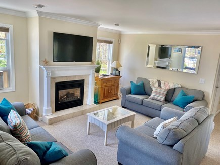 Edgartown Martha's Vineyard vacation rental - Living room w/ flat screen TV, fireplace and updated w/ 3 couches
