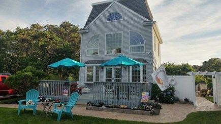 Edgartown Martha's Vineyard vacation rental - Large front deck with 2 tables and umbrellas