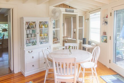 Oak Bluffs, East Chop Martha's Vineyard vacation rental - Kitchen, view out to patio/grill area, and door into office space