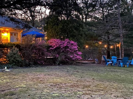 Oak Bluffs Martha's Vineyard vacation rental - Brick patio seating and additional seating in yard with grill