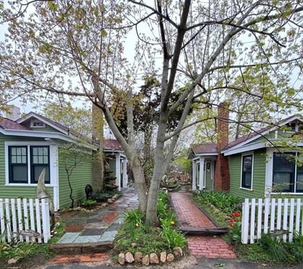 Oak Bluffs, East Chop Highlands, Oak Bluff Martha's Vineyard vacation rental - Center walk. House for rent on right.