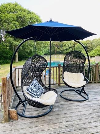 West Tisbury Martha's Vineyard vacation rental - Backyard deck overlooking pool and horse paddock