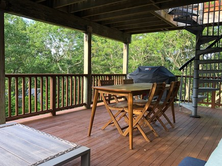 Aquinnah Martha's Vineyard vacation rental - Middle porch with large Weber grill, outdoor dining for 8.
