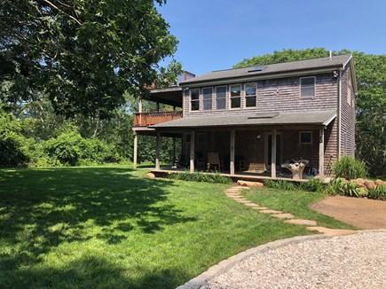 Aquinnah Martha's Vineyard vacation rental - Large side yard and shell driveway.