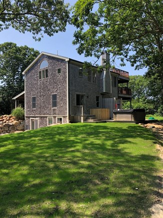 Aquinnah Martha's Vineyard vacation rental - View of house and deck with hot tub.