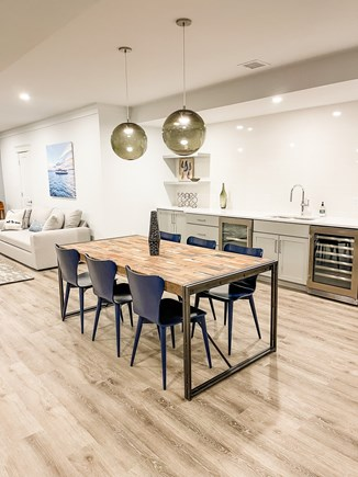 Edgartown Martha's Vineyard vacation rental - Finished Lower Level Wet Bar and Dining Area
