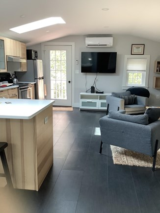 Edgartown Martha's Vineyard vacation rental - Living room and kitchen, cable tv.