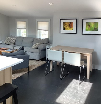 Edgartown Martha's Vineyard vacation rental - Dining area. Counter and stools on the left, table with 4 chairs,
