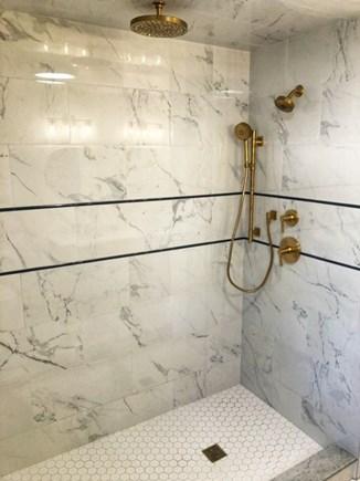 Oak Bluffs Martha's Vineyard vacation rental - En suite shower with Kohler Vibrante Brushed Brass fixtures